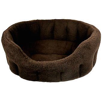 Premium Oval Fleece Softee Bed Dark Brown Size 6 97x74x25