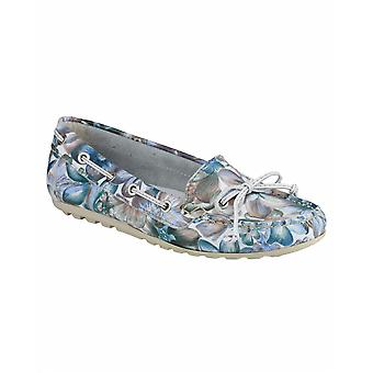 Riva Wells Flower Print Moccasins Ladies Womens Summer Shoes Leather Slip-on