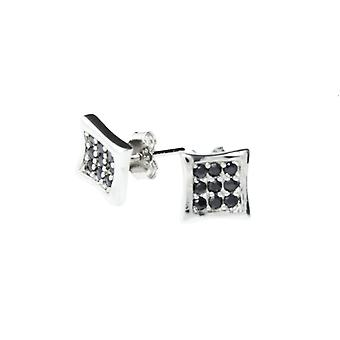 Sterling 925 Silver MICRO PAVE earrings - ICE black 6 mm