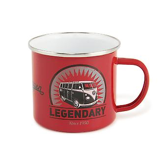 Official VW Camper Van Enamel Tin Mug in gift box - Legendary (Red)