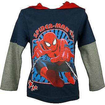 Boys Marvel Spiderman Hooded Long Sleeve Top