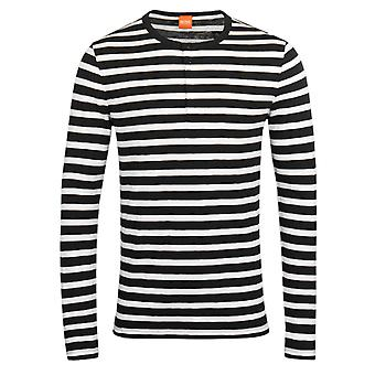 BOSS Orange Translation Navy & White Striped Henley Shirt