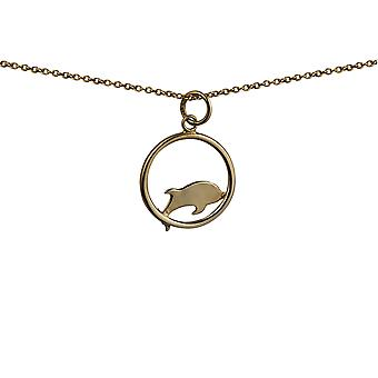 9ct Gold 18x18mm Dolphin jumping to the left in a circle Pendant with a cable Chain 16 inches Only Suitable for Children