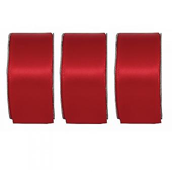 Anita's Radiant Red Wide Satin Ribbon 3 Pack Bundle