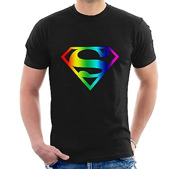 Super Pride Superman Rainbow Logo Dark Garment Men's T-Shirt