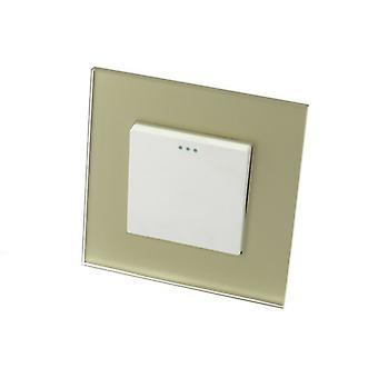 I LumoS Luxury Gold Glass Frame 1 Gang 1 Way Rocker Wall Light Switches