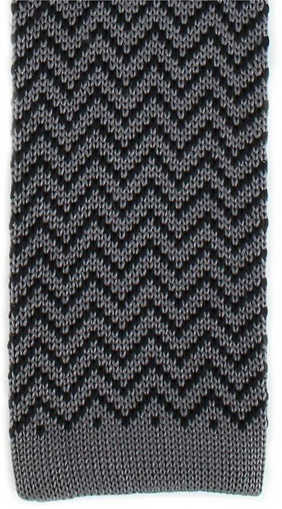 Michelsons of London Zig Zag Silk Knitted Skinny Tie - Charcoal/Black