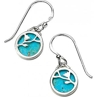 Elements Silver Floral Vine Turquoise Hook Earrings - Silver/Blue