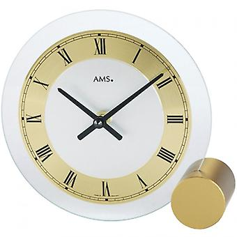 Table clock white brass painted metal base mineral glass