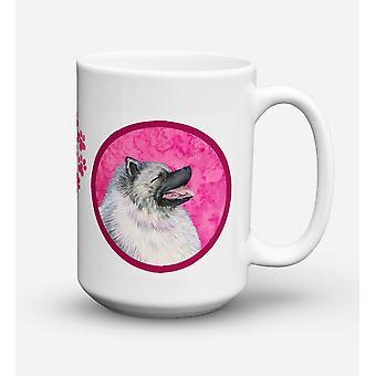 Keeshond diskmaskin säkra mikrovågssäker keramisk kaffe Mugg 15 uns SS4764