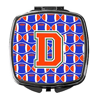 Letter D Football Green, Blue and Orange Compact Mirror