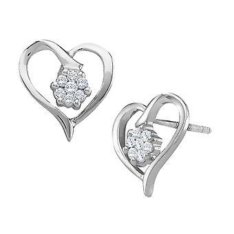 Diamond Heart Earrings 1/8 Carat (ctw) in 10K White Gold