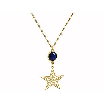 GEMSHINE ladies necklace with star and Sapphire of excellent quality. Rose gold 45 cm necklace or pendant made of silver, gold plated. Made in Madrid, Spain. In the elegant gift box.