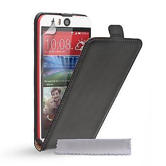 Caseflex HTC Desire Auge echtes Leder Flip Case - schwarz