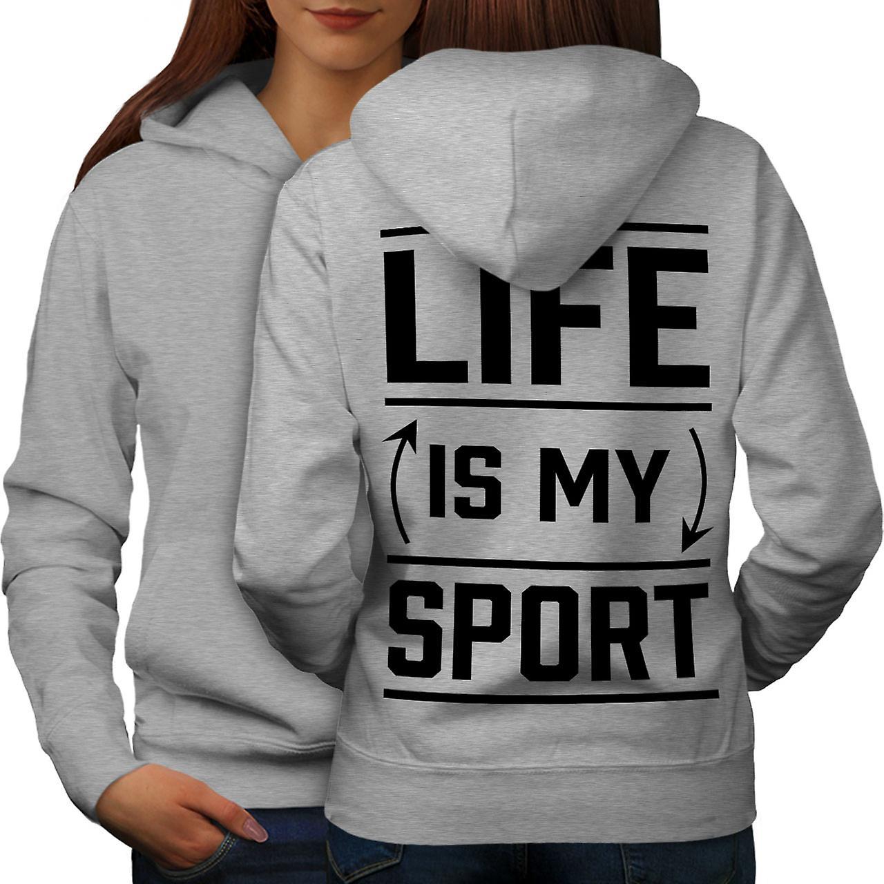 La vie est Sport femmes citation drôles grisHoodie dos