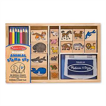 Animali di legno Melissa & Doug Stamp Set età 4 + Childrens mestiere