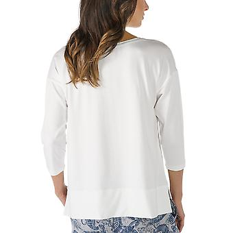 Mey 16806-405 Women's Night2Day Off-White Solid Colour Pajama 3/4 Sleeve Pyjama Top