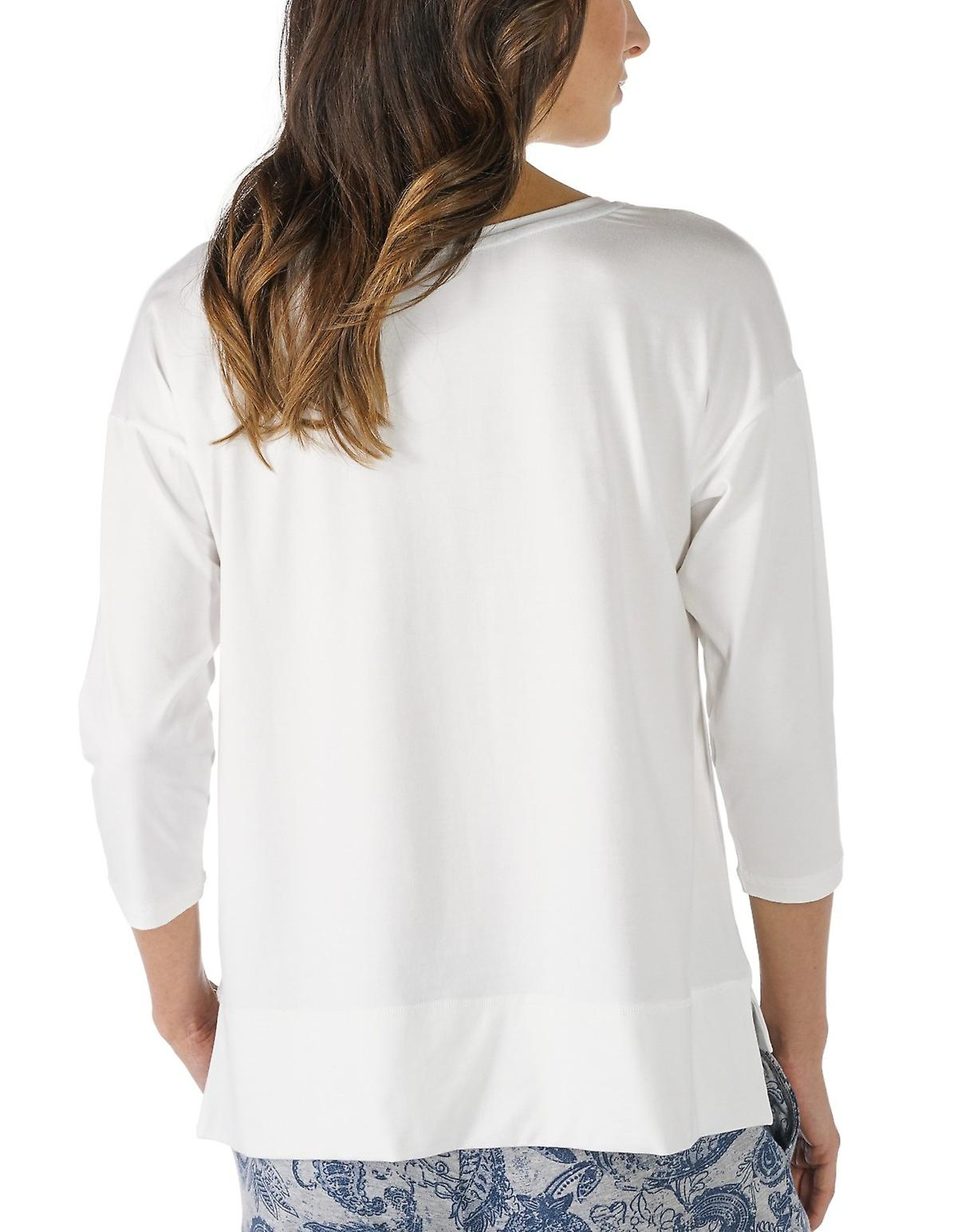 Night2Day Couleur unie écru pyjama 3 4 Sleeve Pyjama Top féminin de Mey 16806-405