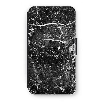 Samsung Galaxy S6 Edge Flip Case - zwart marmer