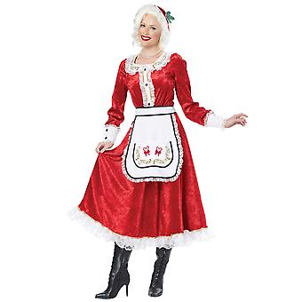 Classic Mrs Claus Santa Christmas Fancy Dress Up Long Dress Womens Costume