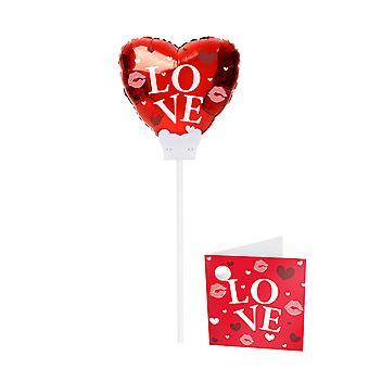 Foil balloon with wand red heart I love You wedding love wedding day flower plug