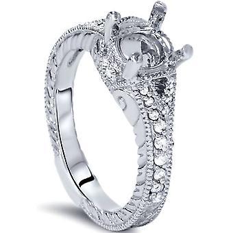 1 / 4ct Vintage anillo ajuste 14K oro blanco montaje