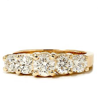 2ct Lab Created Diamond 5-Stone Engagement Anniversary Ring 14K Yellow Gold