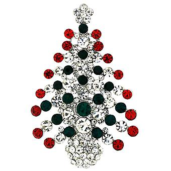 Brooches Store Red Green and Clear Crystal Christmas Tree Brooch Silver