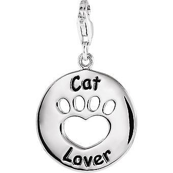 Sterling Silber Herz U zurück Cat Lover Pfote Charme 19.89 Od