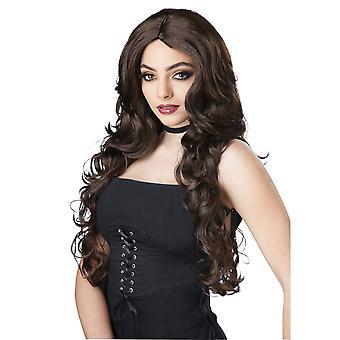 Celebrity Glam lange golvende Glamour bruin Brunette Womens kostuum pruik