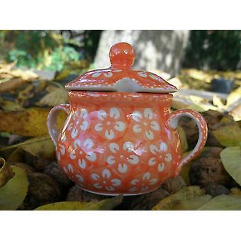 Sugar Bowl jam jar, Bolesławiec orange, BSN m 4366