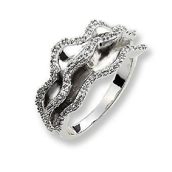 Orphelia Silver 925 Ring Waves  Zirconium   ZR-3509