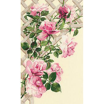 Pink Roses On Lattice Counted Cross Stitch Kit-13.75