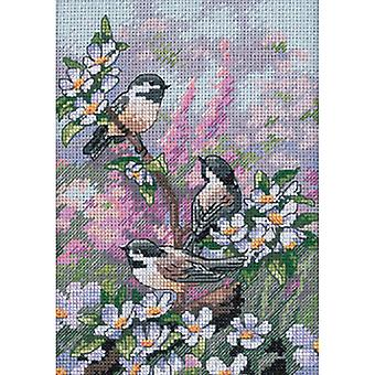 Gold Petite Chickadees In Spring Counted Cross Stitch Kit-5