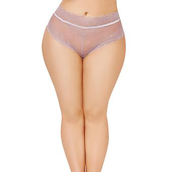 Plus Size High Waisted Lace Trim Lace Up Back Panty Underwear