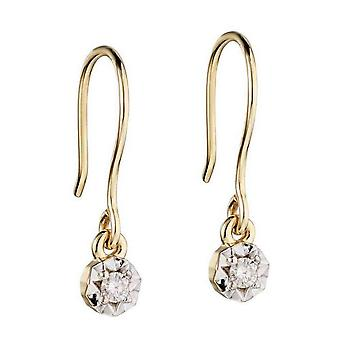 Elements Gold Diamond Illusion Disc Hook Earrings - Gold/Clear