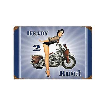 Uns Marine bereit 2 Ride Harley Pinup verrosteten Blechschild 460 X 300 Mm