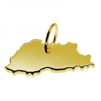 Trailer map BHUTAN pendant in solid 585 yellow gold