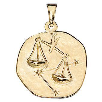 Signe astrologique pendentif or de la balance de l'or jaune 333, ASTRO