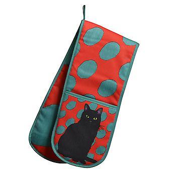Leslie Gerry svart katt Design doble ovnen hanske