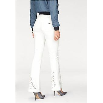 ARIZONA Bootcut jeans with long size white eyelet embroidery