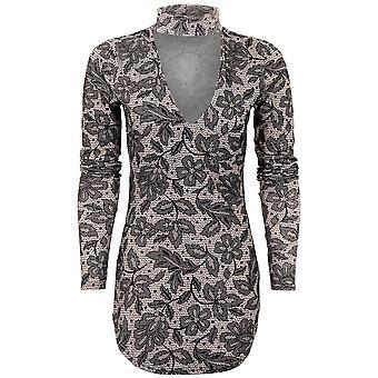 Ladies Long Sleeve Curved Hem Choker V Neck Leopard Paisley Plain Long Top