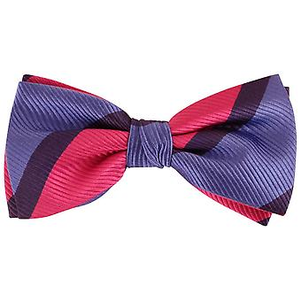 Knightsbridge Neckwear Diagonal Striped Silk Bow Tie - Blue/Pink