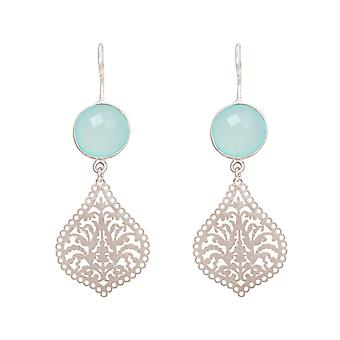GEMSHINE ladies earrings with Mandalas and chalcedony gemstones. Earrings. Made in Madrid, Spain. Delivered in an elegant gift case.