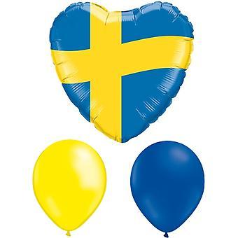 Student Narodowy Dzień folieballong + 10 żółty & 10 niebieski lateks