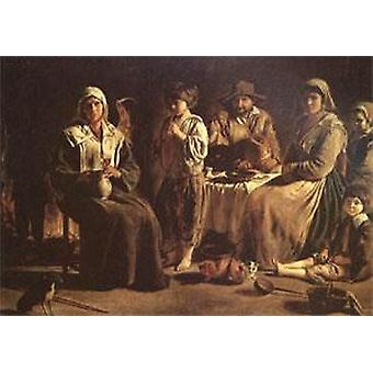 Peasant Family in an Interior, Louis Le Nain, 40x60cm with tray