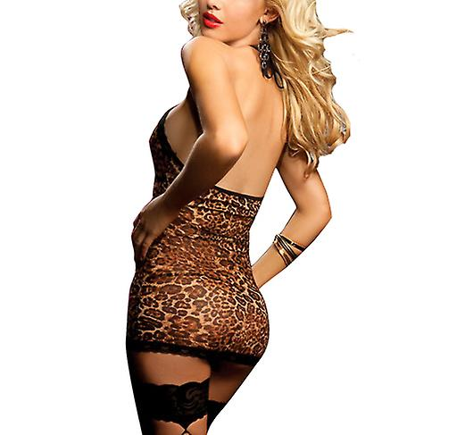 Waooh - Sexy Lingerie - Babydoll Leopard split and decorated with lace