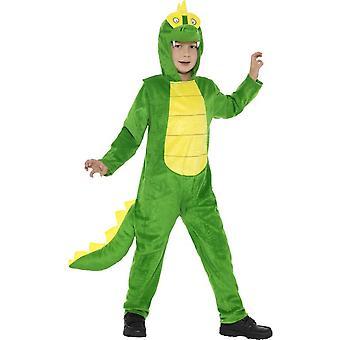 Costume Deluxe coccodrillo, verde, con tuta cappuccio & coda