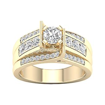 IGI Certified 14k Yellow Gold 1.25 Ct Diamond Classic Engagement Ring Set Size