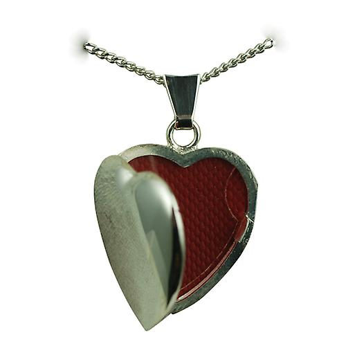 Silver 21x19mm plain heart shaped Locket with a curb Chain 22 inches